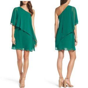 VINCE CAMUTO Chiffon One-Shoulder Dress Green 10P